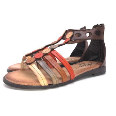 Sandalia de cuero - multicolor